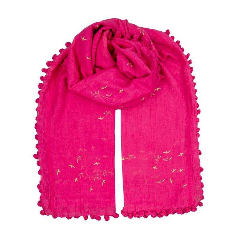 Hot pink dupatta with our classic gold swallow print is a blend of 80% cotton & 20% silk. Individually hand dyed &block printed. Each tassel is hand sewn.
