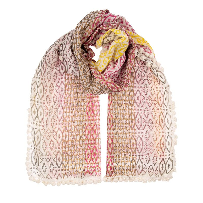 Our Migration dupatta is a blend of 80% Indian cotton & 20% silk. This is a very unique and special print in pinks, taupe and gold detail.