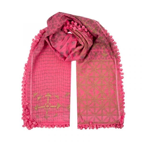 This hand woven desert girl dupatta is a blend of 80% cotton & 20% silk in a pretty pink colour with gold hand block print. Made with love in India.