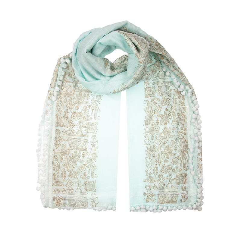 Warli print aqua colour dupatta in a blend of 80% cotton & 20% silk. Made with love by Indian weavers and block printers, the ethical fashion choice.